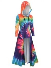 dresslily Hooded Spiral Tie Dye Print High Slit Maxi Top