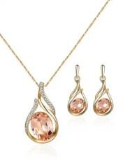dresslily Oval Faux Crystal Teardrop Jewelry Set