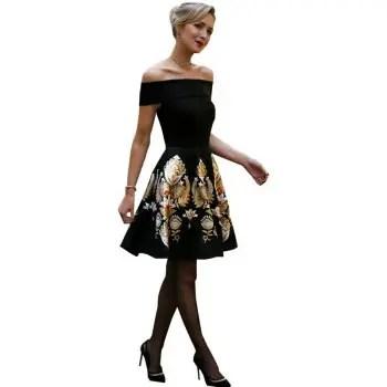 Womens Aline Dress Slash Neck Off Shoulder Slim Fit Sexy Dress