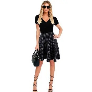 Womens Aline Dress One Piece Layer Look V Neck Short Sleeve Dress