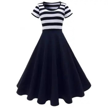 Striped Stitching Dress Retro Hepburn Dress