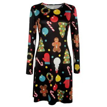 Women s Aline Dress Floral Print Pattern Long Sleeve Midi Dress