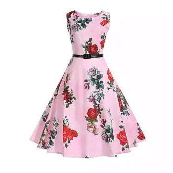 2018 Cotton Pink Rose Printing Women S Dress Retro Dress