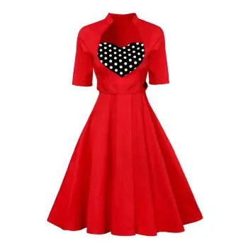 New Vintage Dress Women Summer Retro Evening Party Dresses Female Clothes Swing Tunic Dress