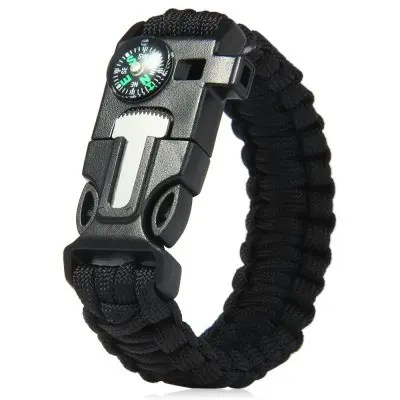 5 in 1 Outdoor Survival Paracord Bracelet - BLACK
