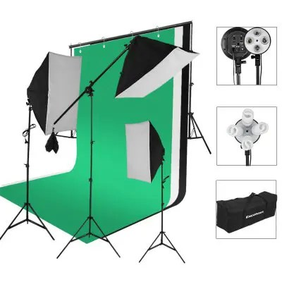 Gearbest Excelvan SHLP-045 2000W Photo Studio Continuous Lighting Kit- 3 Color Backdrop & Background Support+ 4-Socket & Auto Pop-Up Softbox+ Light Stand + 45w Lamp+ Portable Bag with EU Plug