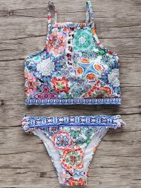 Printed High-Neck Keyhole Women's Bikini Set