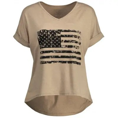 American Flag Graphic High Low T-Shirt
