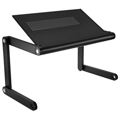 Gearbest OMAX K6 Portable Laptop Desk Folding Table Vented Stand - BRIGHT BLACK with Cooling Holes
