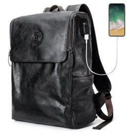 Gearbest Stylish PU Leather Backpack for Men with USB Interface