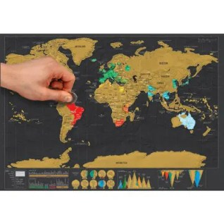 Gearbest Large Size Personalized Scratch-off World Map Poster Travel Toy - 16.6 x 11.8 inch