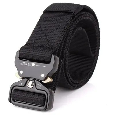 Gearbest ENNIU Male Outdoor Tactical Training Belt with Cobra Buckle - BLACK