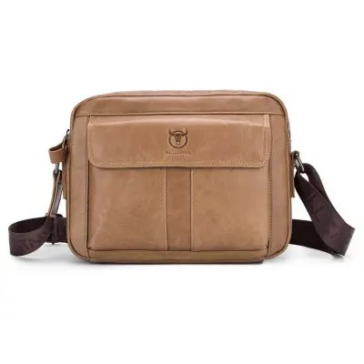 BULLCAPTAIN Men Retro Genuine Leather Messenger Bag
