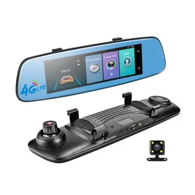 Gearbest E06 4G Car DVR 7.84 Inch Touchscreen Remote Control Rearview And Android Camera Dual Lens 1080P WI-FI Das - BLACK