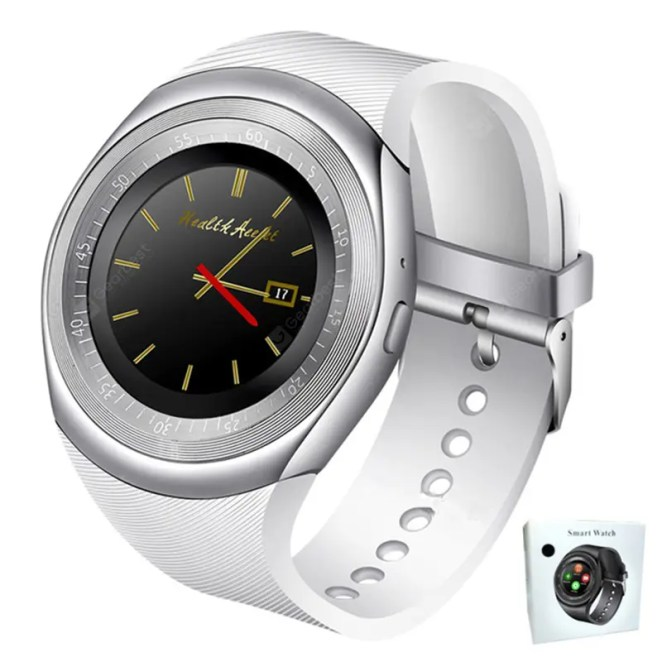 Gearbest GONOKER Y1S Bluetooth Smartwatch Support SIM TF Card for Android and IOS Phone - White China