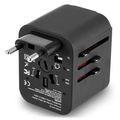Gearbest International Multifunctional 4 USB Port Travel Charger Adapter - BLACK International Plug 3.5A Output