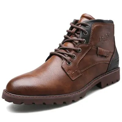 Gearbest Men's Leather Shoes Outdoor Casual Martin Boots
