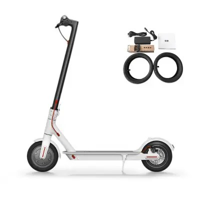 Gearbest Original Xiaomi M365 Folding Electric Scooter Europe Version - WHITE Ultralight Skateboard with E-ABS / Kinetic Energy Recovery / Cruise Control / Intelligent BMS