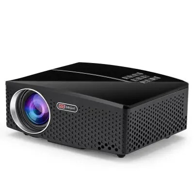 Gearbest VIVIBRIGHT GP80 LED 1800 Lumens HD Portable Projector - NATURAL BLACK US PLUG Supprot 1080P USB HDMI Home Theater