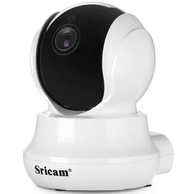 Gearbest Sricam SP020 720P WiFi IP Camera - BLACK WHITE EU PLUG Night Vision / Pan-tilt Function / Motion Detection
