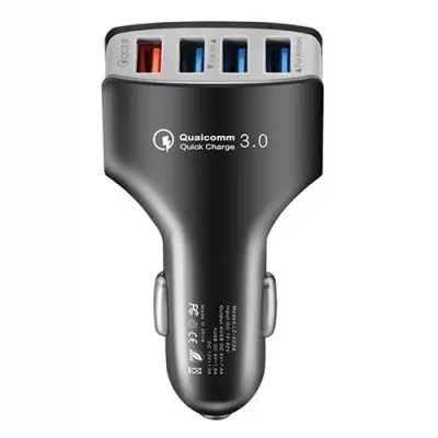 Gearbest 4 Ports QC3.0 Fast Charging Car Charger - ASH GRAY for Smartphone / Camera / Digital Devices