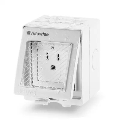 Alfawise WIFI Waterproof Wall Socket - LIGHT GREY US PLUG (3-PIN)