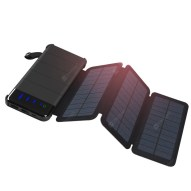 Solar Charger Detachable Power Bank 10000mAh with 2 Solar Panels Foldable Portable Phone Charger with LED Light
