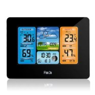FanJu FJ3373W Digital Weather Station Alarm Clock with Temperature Humidity