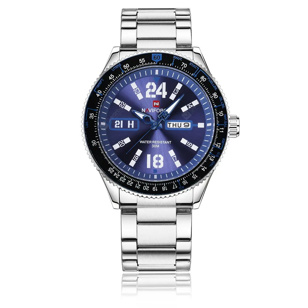 NAVIFORCE Steel Band Waterproof Quartz Male Calendar Business Casual Watch