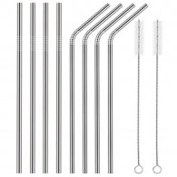 Stainless Steel Straws Set Multi-colored Reusable Cleaning Brush 10PCS