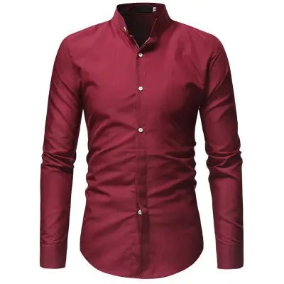 Gearbest 2018 New Casual Stand Collar Men's Solid Color Slim Long-Sleeved Shirt - RED M