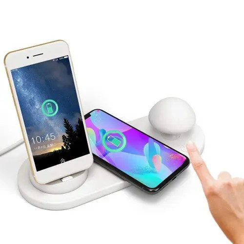 Wireless Fast Charging with Three Output Ports Touch Silicone Night Light
