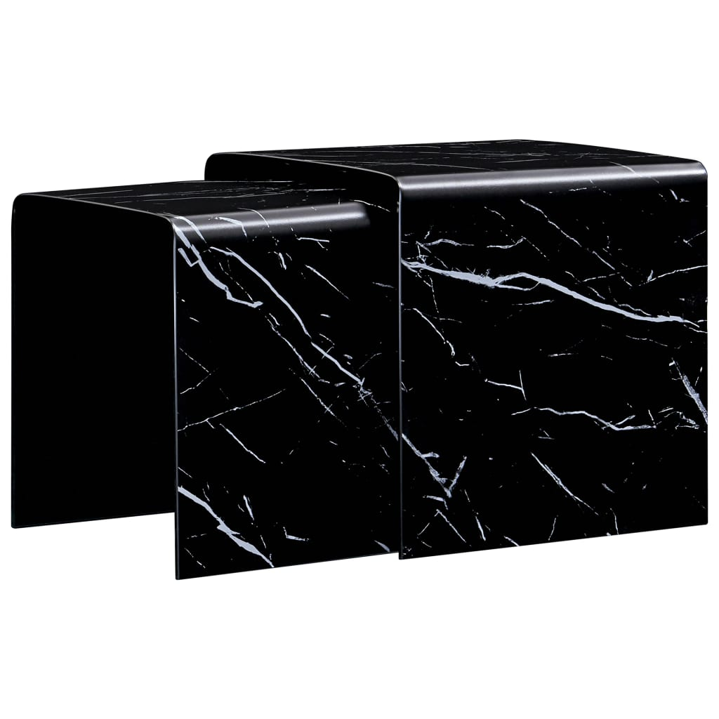 Nesting Coffee Tables 2 Pcs Black Marble Effect 42x42x41 5 Cm Tempered Glass Sale Price Reviews Gearbest Mobile