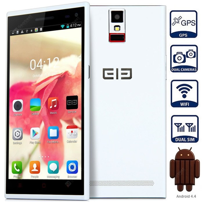 Elephone P2000C Android 4.4 3G Phablet with 5.5 inch WVGA IPS Screen MTK6582 1.3GHz Quad Core 1GB RAM 8GB ROM Fingerprint Identification GPS OTG NFC Dual Cameras