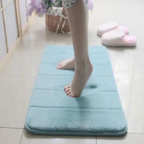 light blue memory cotton anti-slip carpet floor mats for bathroom