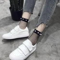 Fishnet Socks Pearl Silk Harbin Usa Harajuku. -