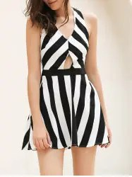 Vintage Striped Hollow Out Mini Dress - WHITE AND BLACK XL