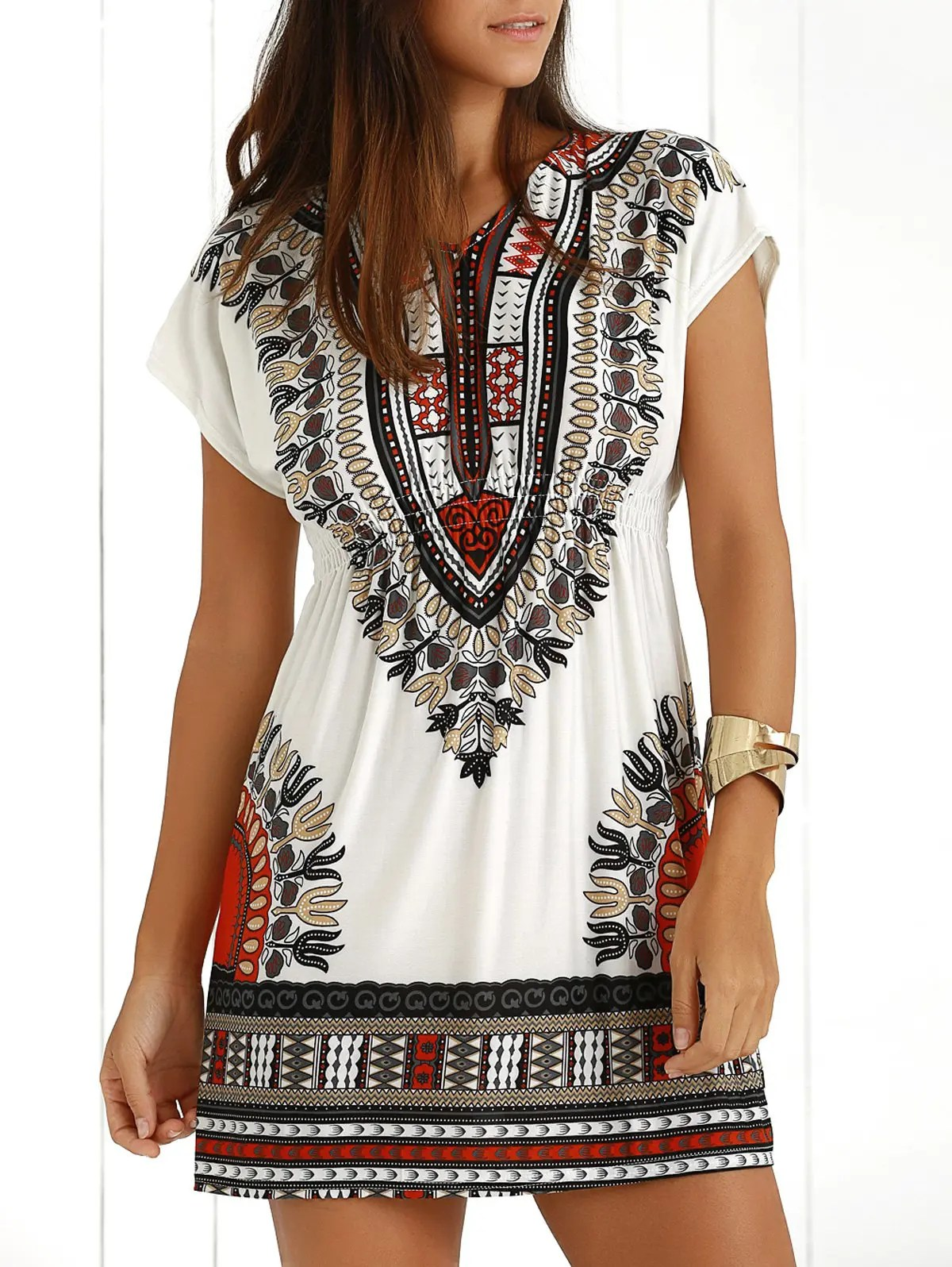 Casual Ethnic Summer Mini Dress In Jacinth One Size