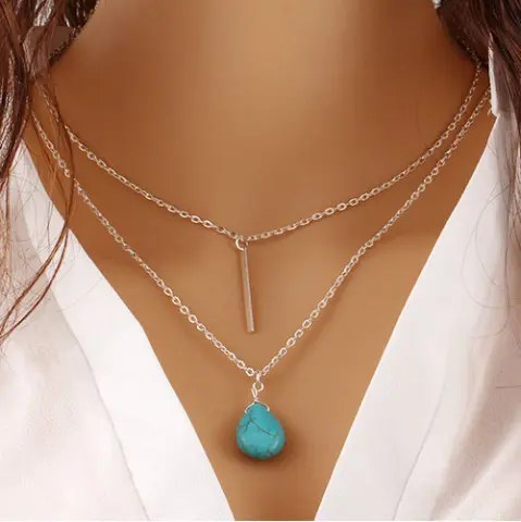Risultati immagini per https://www.rosegal.com/necklaces/faux-turquoise-water-drop-bar-727426.html