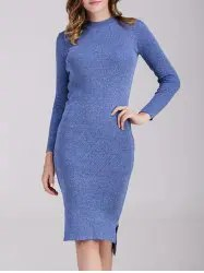 Long Sleeve Fitted Midi Jumper Dress