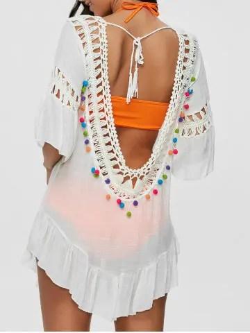 Risultati immagini per https://www.rosegal.com/cover-ups-kaftans/colored-pompon-see-through-crochet-tunic-995368.html