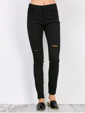 Chic High Waisted Distressed Jeans