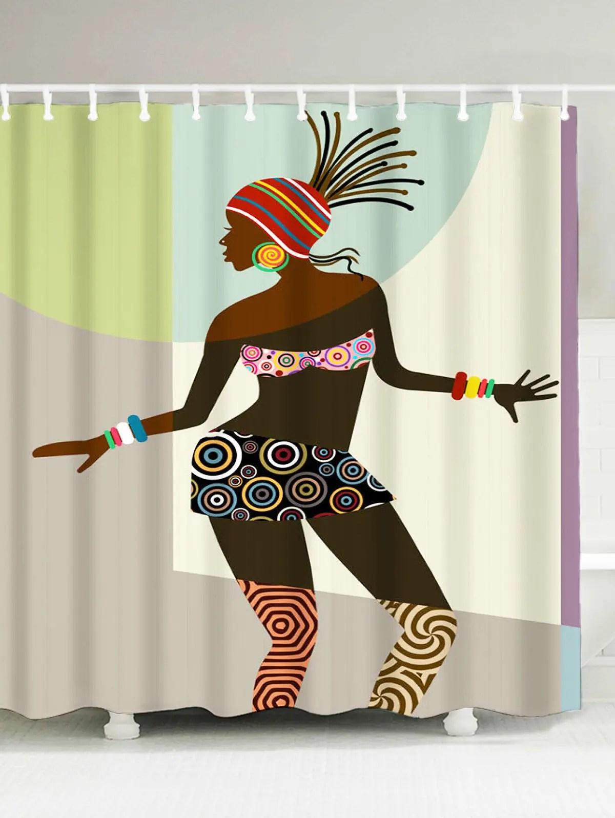 Colormix W71 Inch L71 Inch African Woman Fabric Shower Curtain