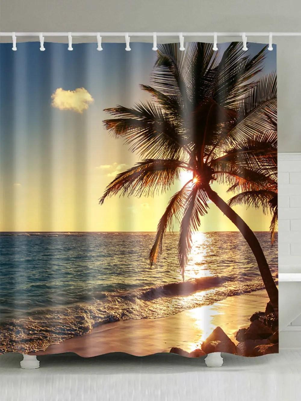 26 OFF Sunset Beach Scenic Shower Curtain Bathroom Decor Rosegal