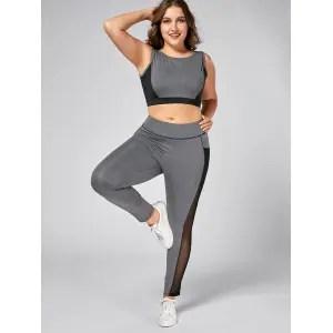 Plus Size Wirefree Yoga Bra and Mesh Panel Leggings - GRAY 4XL
