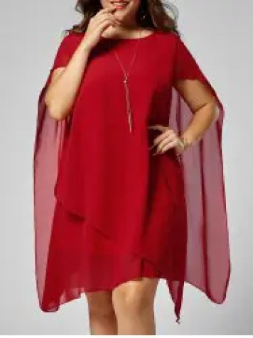Asymmetric Chiffon Plus Size Cape Swing Shift Dress