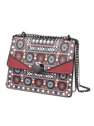 Fashion PU Leather Chain Tribal Print Crossbody Bag