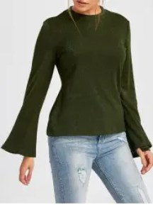 Crew Neck Bell Sleeve Ribbed Sweater - GREEN S