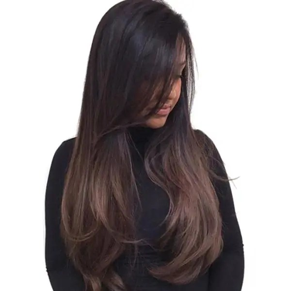 2018 Long Inclined Bang Ombre Straight Synthetic Wig In
