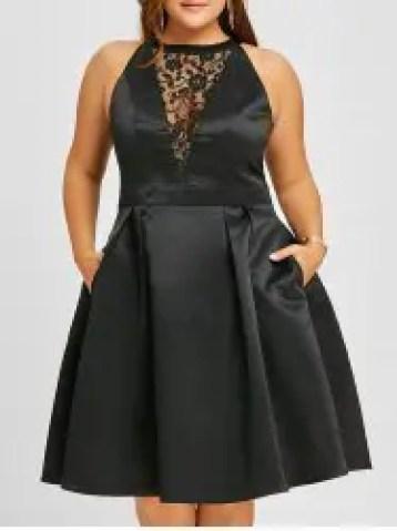 Plus Size Semi Cocktail Lace Insert Swing Dress